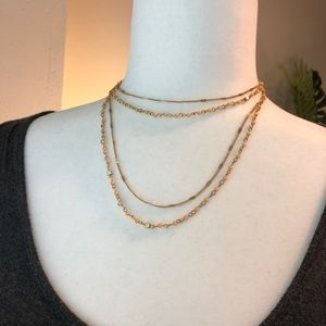 Boutique   Gold & Peach Chain Beaded Necklace
